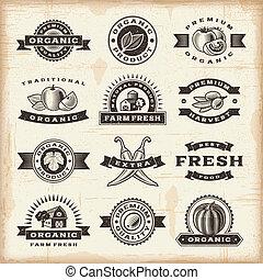 vendimia, sellos, conjunto, cosecha, orgánico