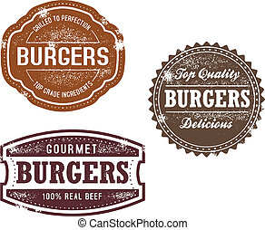 vendimia, sellos, hamburguesa