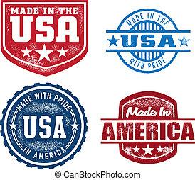 vendimia, sellos, hecho, estados unidos de américa