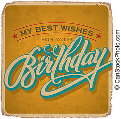 vendimia, tarjeta de cumpleaños, (vector)
