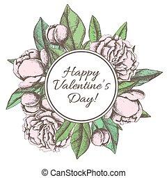 vendimia, valentines, mano, dibujado, peón, botánico, día, tarjeta, feliz