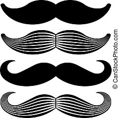 vendimia, vector, negro, bigote, iconos