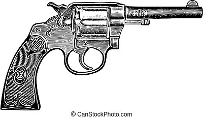vendimia, vector, pistola