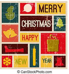 vendimia, vector, tarjeta de navidad