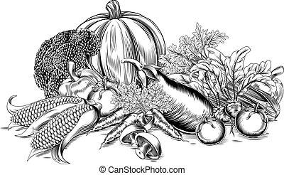 vendimia, vegetales, retro, woodcut