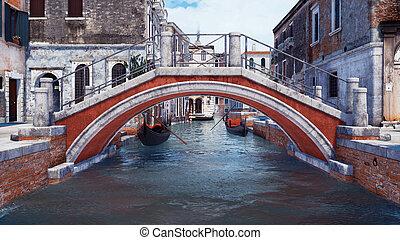 venecia, encima, italia, canal, viejo, piedra, agua, puente