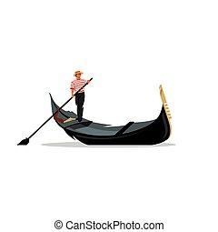 venecia, illustration., remo, góndola, vector, remo, signo., gondolero