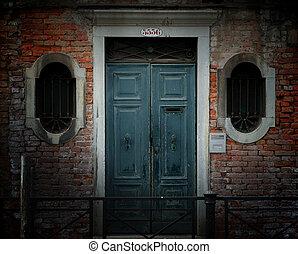 venecia, puerta, resistido