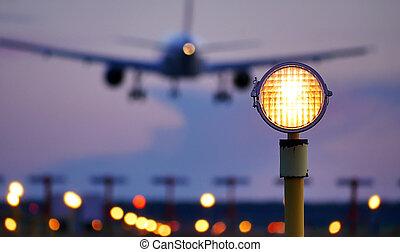 venida, aterrizaje, avión