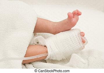 venoso, paciente, líquido, nacido, pie, nuevo, línea, intra