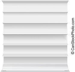 venta al por menor, vacío, vector, fondo., vitrina, largo, productos, blanco, shelf., blanco, ilustración, supermercado, 3d