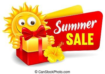 venta, carácter, alegre, caricatura, anunciar, verano, sol