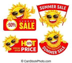 venta, conjunto, alegre, caracteres, caricatura, anunciar, verano, sol