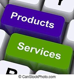 venta, exposición, llaves, productos, en línea, servicios, compra
