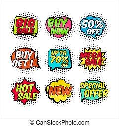 venta, insignia, caricatura, etiqueta, colección