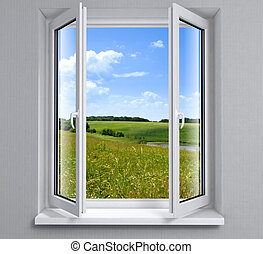 ventana, abierto, plástico