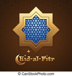 Ventana con patrón árabe. Eid al fitr