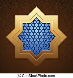 Ventana de la mezquita con un patrón árabe