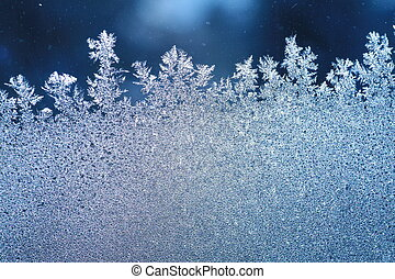 ventana, helada, hielo