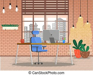 ventana, lugar, moderno, oficina de trabajo, vista