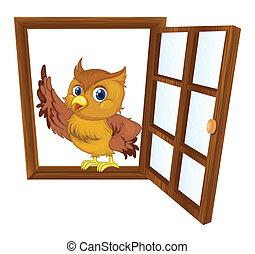 ventana, pájaro