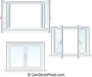 ventana, plástico