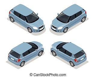 ventana trasera, icon., transporte, isométrico, alto, coche., vector, ciudad, plano, illustration., 3d, calidad