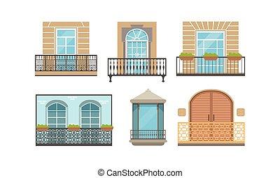 ventana, vector, ilustración, diseño de edificio, casa, fachada, conjunto, balcón, moderno, exterior, clásico