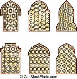Ventanas clásicas islámicas y puertas con adorno árabe. Patrón vector