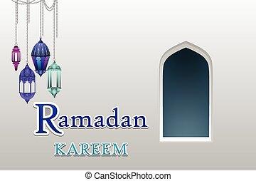 Ventanas de arco árabe y puertas con Ramadan Kareem vector