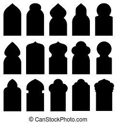 Ventanas de arco árabe y puertas en las siluetas de vectores islámicos tradicionales