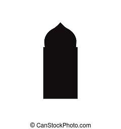 Ventanas de arco árabe y puertas, siluetas vectoriales
