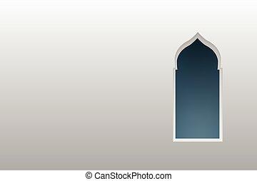 Ventanas de arco árabe y puertas, vector