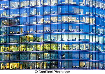 Ventanas de la oficina azul
