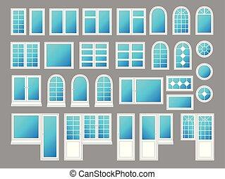 Ventanas de plástico con puertas, ilustraciones vectoriales
