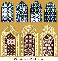 Ventanas islámicas y puertas con un vector de ornamento de arte árabe fijado