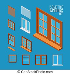 Ventanas isométricas fijas, ilustración vectorial.