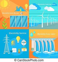 ventoso, hydro, electricidad solar
