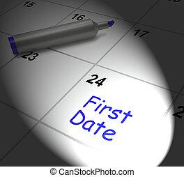 ver, alguien, romance, exhibiciones, fecha, calendario, primero