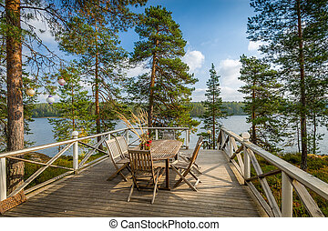 veranda, de madera, muebles