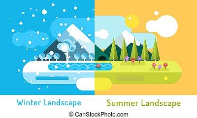 verano, al aire libre, cueva, invierno, elements., paisaje., sol, resumen, naturaleza, nubes, árboles, nieve, flores, cold., lago, río, diseño, hielo, señales, o, montañas