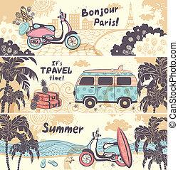 Verano antiguo y pancartas de viaje