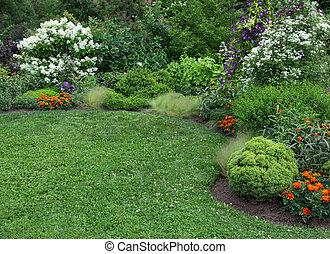 verano, césped, verde, jardín