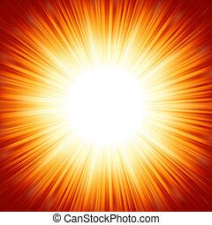 verano, centrado, luz, eps, burst., sol, naranja, 8, rojo