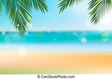 verano, coco, hoja, cima, tiempo, playa