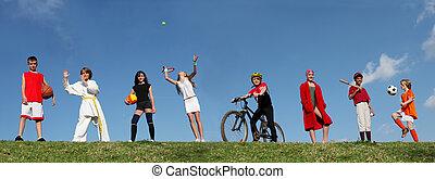 verano deportivo, campo, niños
