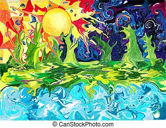 verano, diseño, distante, fantasía