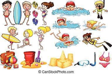 verano, el gozar, grupo, niños