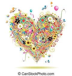 verano, elementos, corazón, feriado, forma, diseño