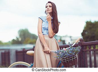 verano, estilo de vida, vestido, mujer joven, elegantly, hermoso